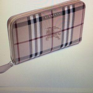 Burberry Haymarket Elmore  Zip Around Wallet